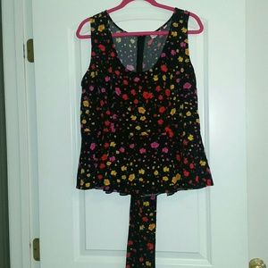 New York & Company Eva Mendes floral peplum top.